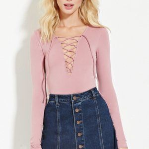 💖3/$25💖 Dusty Pink Forever 21 Lace Up Top